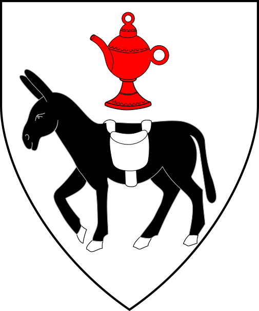 [Argent, an ass passant sable bearing a saddlebag argent, in chief a spouted pot gules.]