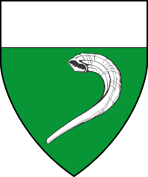 [Vert, a shofar reversed bendwise sinister and a chief argent]