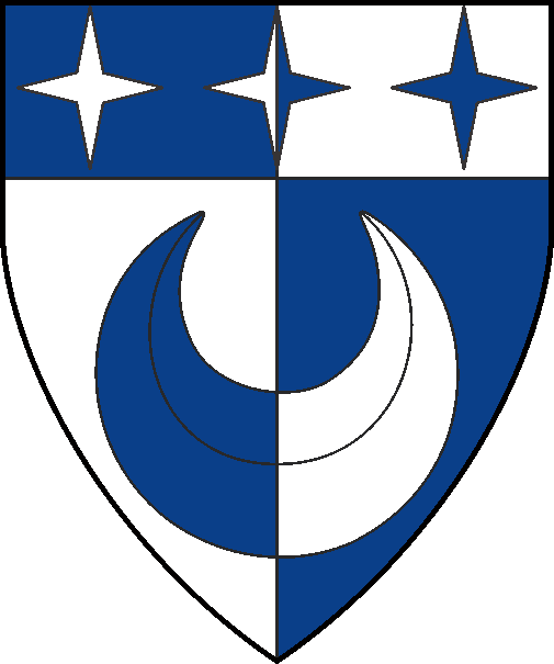 [Per pale argent and azure, a crescent and on a chief three mullets of four points all counterchanged]
