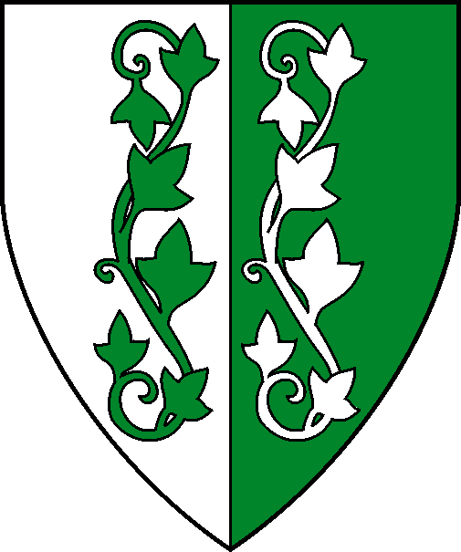 [Per pale argent and vert, two ivy vines palewise counterchanged]