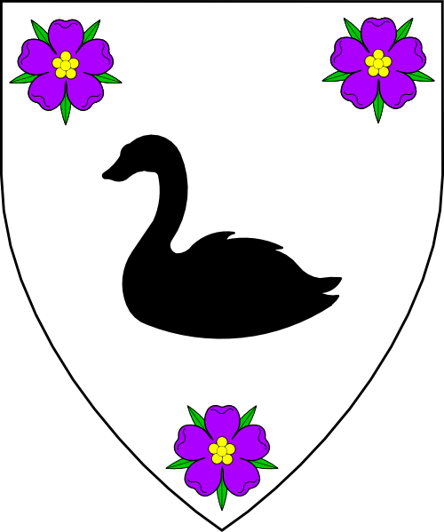 [Argent, a swan naiant sable between three roses purpure barbed and seeded proper.]