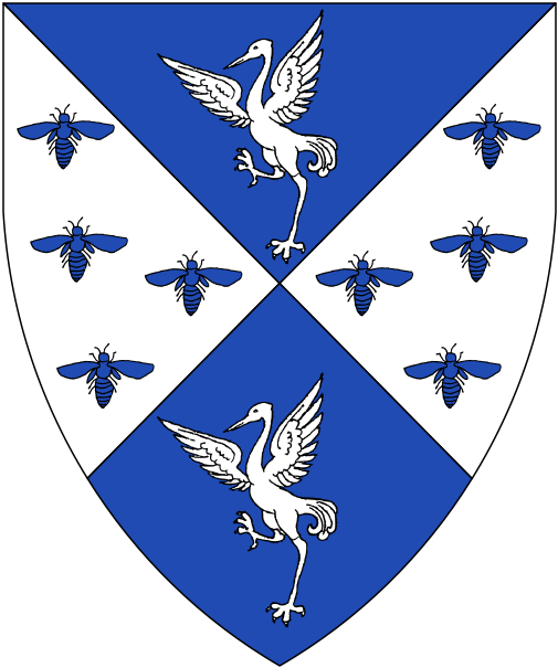 [Per saltire azure and argent semy of bees azure, two cranes rising wings displayed argent.]