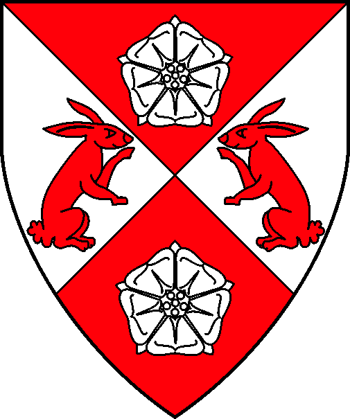 [Per saltire gules and argent, two roses argent and two rabbits sejant erect respectant gules]
