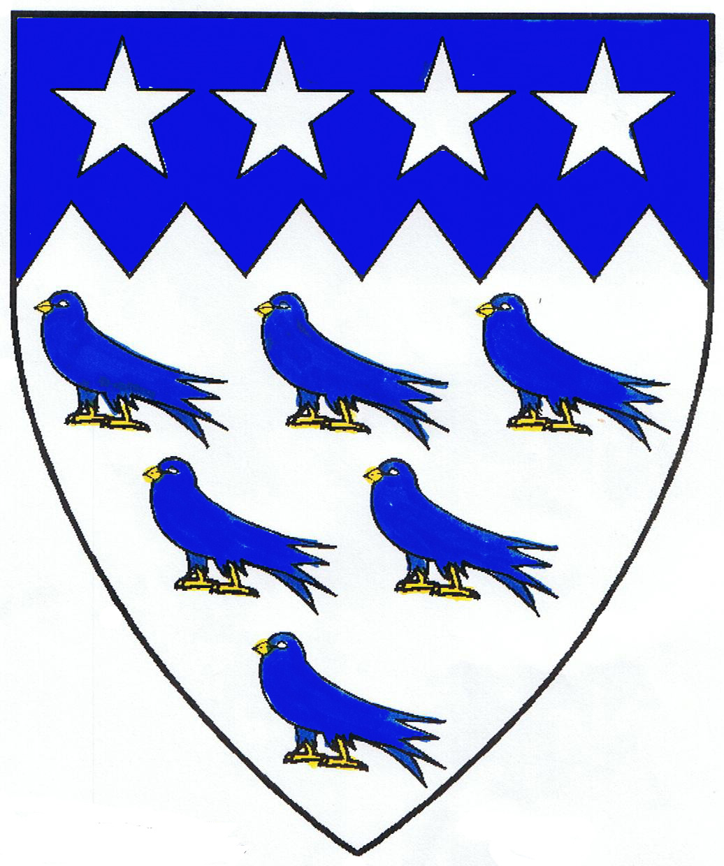 [Argent, six birds close and on a chief indented azure four mullets argent	  ]