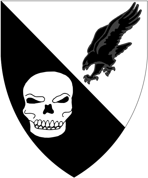 [Per bend argent and sable, a hawk stooping and a skull counterchanged]