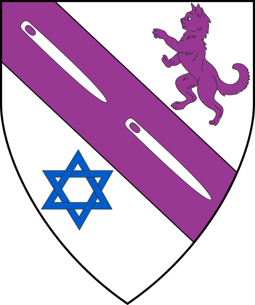 [Argent, on a bend between a domestic cat salient purpure and a star of David azure two needles argent]