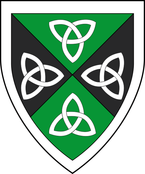 [Per saltire vert and sable, four triquetras in cross points to center and a bordure argent]