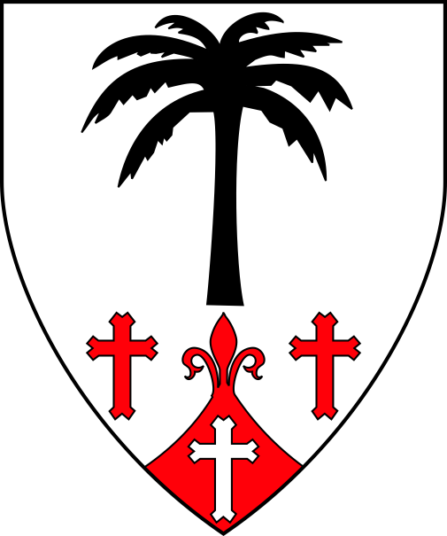 [Argent, a palm tree couped sable and in base between two Latin crosses fourchy, on a point entee fleury gules, a Latin cross fourchy argent]