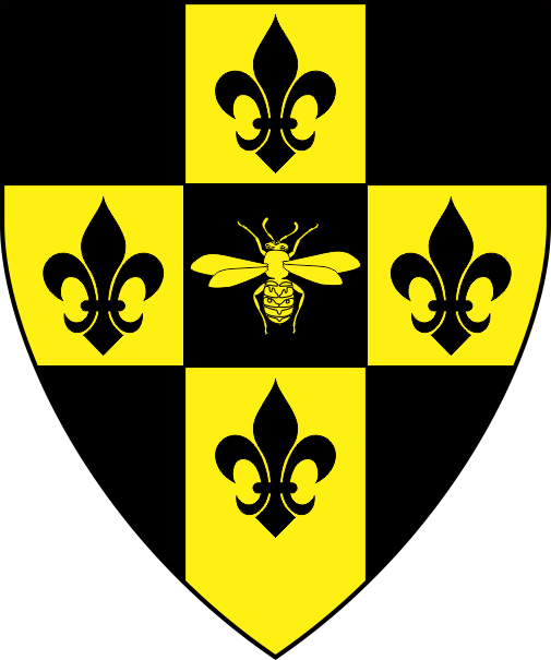 [Checky of nine sable and Or, in cross a bee and four fleurs-de-lys counterchanged]
