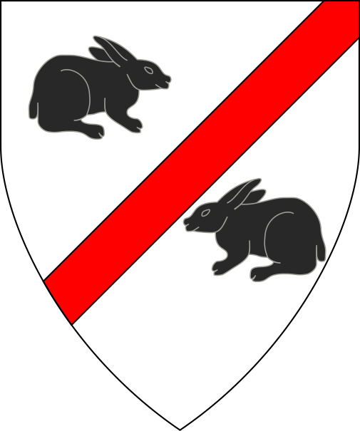 [Argent, a bend sinister gules between two rabbits statant respectant sable]