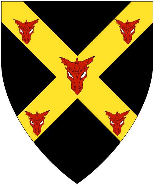 [Sable, on a saltire Or five dragon's heads cabossed palewise gules.]