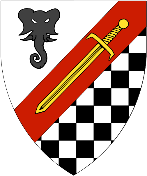 [Per bend sinister argent and checky argent and sable, on a bend sinister gules a sword inverted Or, in chief an elephant's head cabossed sable]