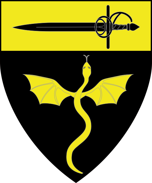 [Sable, a batwinged pithon migrant to chief, on a chief Or a rapier sable]