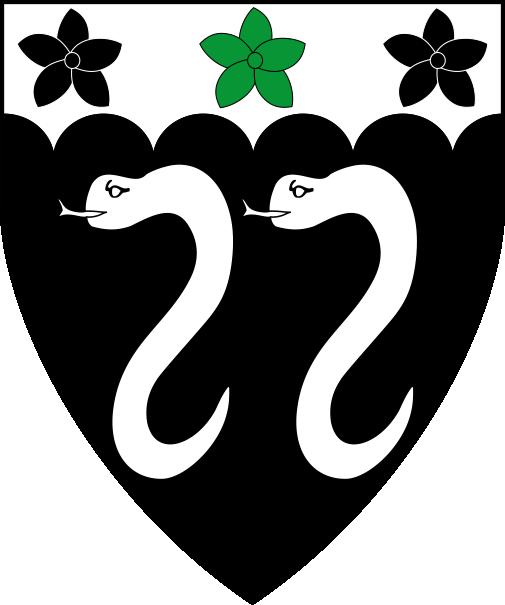 [Sable, two serpents erect, on a chief engrailed argent a cinquefoil vert between two cinquefoils sable.   ]