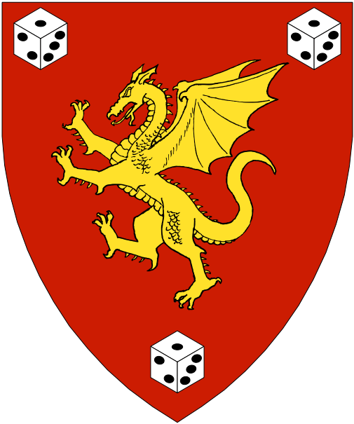 [Gules, a dragon Or between three dice argent marked sable.]