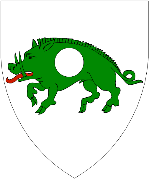 [Argent, on a boar passant vert a plate.]