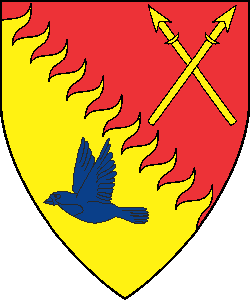 [Per bend rayonny gules and Or, two spears in saltire Or and a sparrow volant wings addorsed azure]