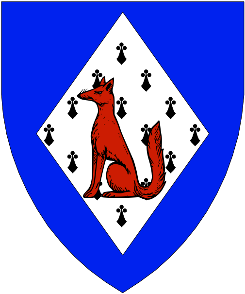 [Azure, on a lozenge ermine a fox sejant gules.]
