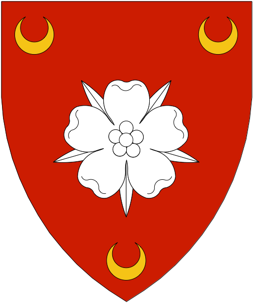 [Gules, a rose argent between three crescents Or.  ]