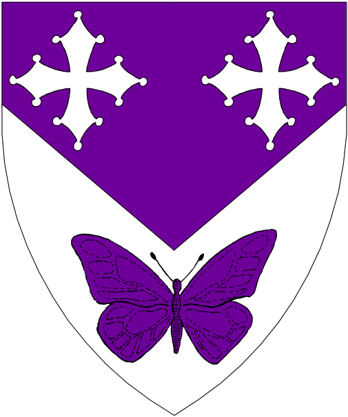 [Per chevron inverted purpure and argent, two key crosses and a butterfly counterchanged.]