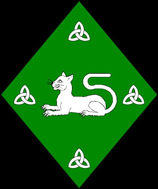 [Vert, a domestic cat couchant between in cross four triquetrae argent.]