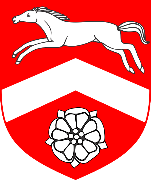 [Gules, a chevron between a horse courant and a rose argent]