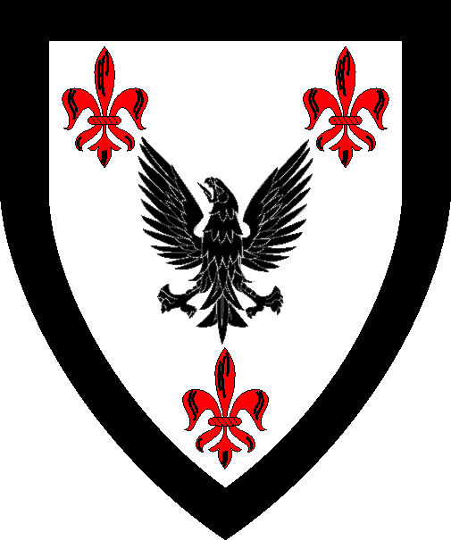 [Argent, a raven displayed sable between three fleurs-de-lys gules, all within a bordure sable]