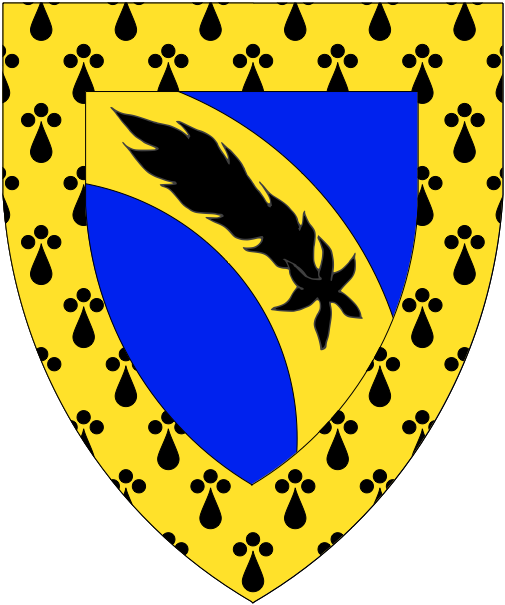 [Azure, on a bend enarched Or a comet inverted sable, a bordure erminois]