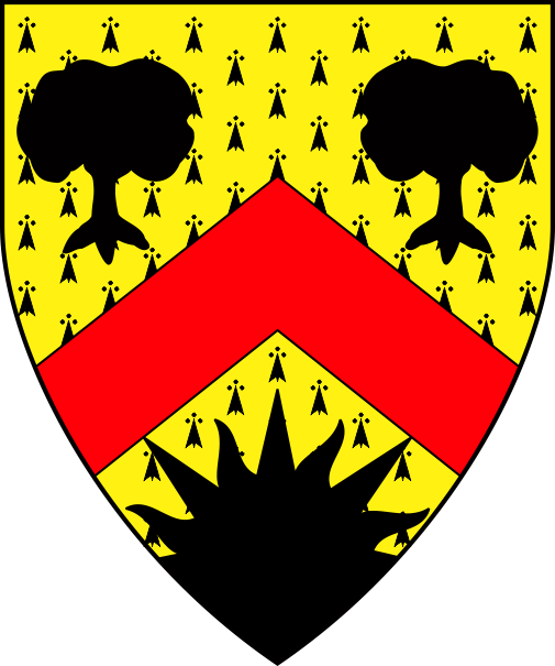 [Erminois, a chevron gules between two trees and a demi-sun issuant from base sable]