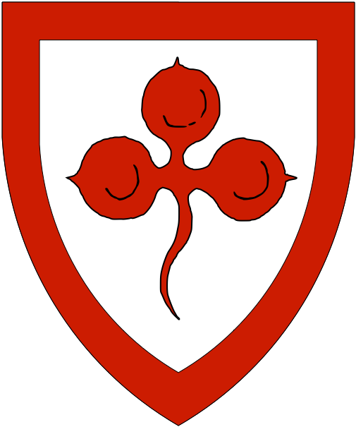 [Argent, a trefoil and a bordure gules.]