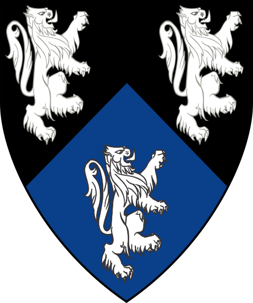 [Per chevron sable and azure, three lions contourny argent]