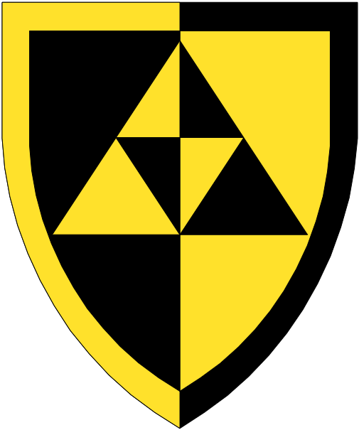 [Per pale sable and Or, three triangles conjoined one and two and a bordure counterchanged.]