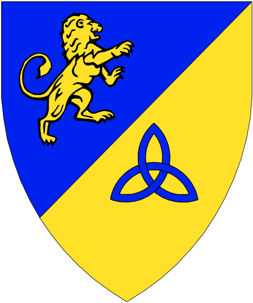 [Per bend sinister azure and Or, a lion contourny and a triquetra counterchanged.]