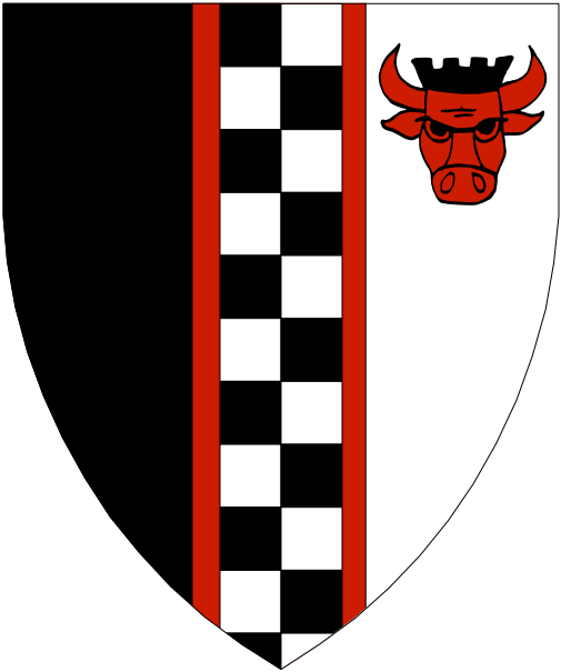 [Per pale sable and argent, a pale counter-compony sable and argent fimbriated, in sinister chief a bull's head cabossed gules crowned of a coronet embattled sable]