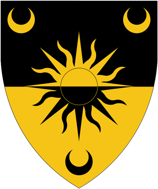 [Per fess sable and Or, a sun between three crescents counterchanged.]