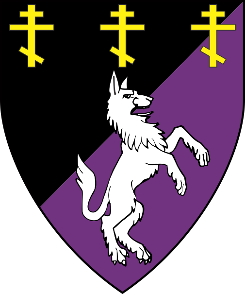 [Per bend sinister sable and purpure, a wolf salient contourny argent, in chief three Russian Orthodox crosses Or]
