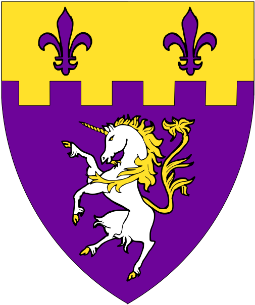 [Purpure, a unicorn argent crined and queued and on a chief embattled Or two fleurs-de-lys purpure.]