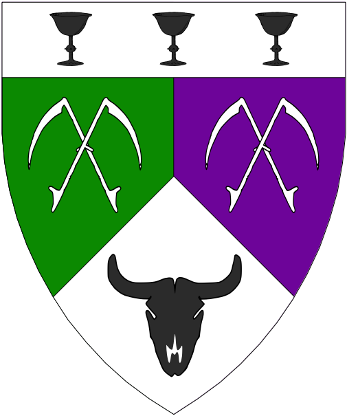 [Per pall inverted vert, purpure, and argent, two pairs of scythes in saltire argent and a bull's skull sable, on a chief argent three chalices sable.]