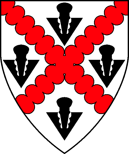 [Argent, a saltire invected gules between four pheons sable]