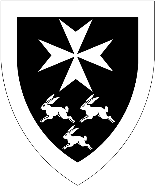 [Sable, a Maltese cross and in base three coneys courant two and one, a bordure argent.]