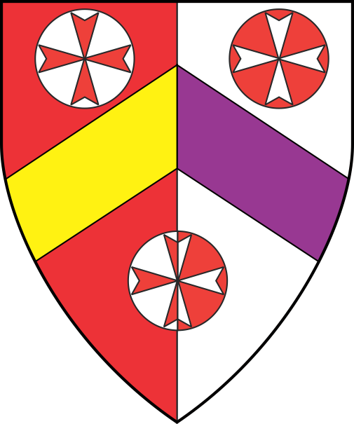 [Per pale gules and argent, a chevron per pale Or and purpure between three roundels, each charged with a Maltese cross throughout counterchanged]