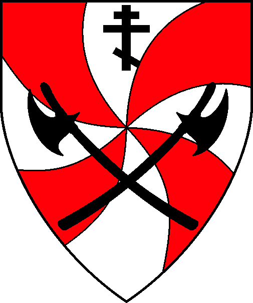 [Gyronny arrondi gules and argent, two Danish axes in saltire and in chief a Russian Orthodox cross sable]