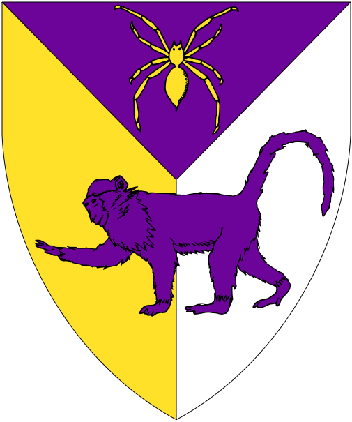 [Per pall purpure, Or and argent, in pale a spider Or and a monkey passant purpure.]