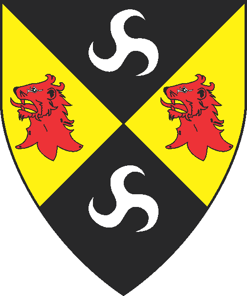 [Per saltire sable and Or, in pale two triskeles argent and in fess two lion's heads erased gules]