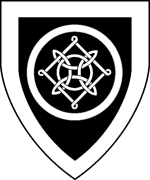 [Sable, a Lacy knot within an annulet, a bordure argent]