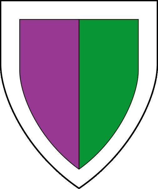 [Per pale purpure and vert, a bordure argent.  ]