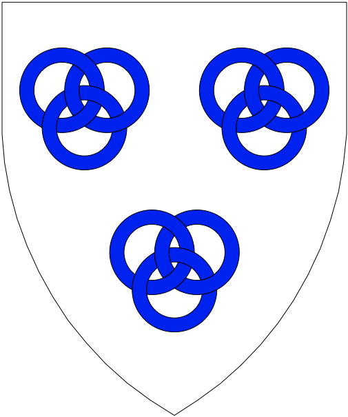 [Argent, three sets of three annulets interlaced two and one azure.]