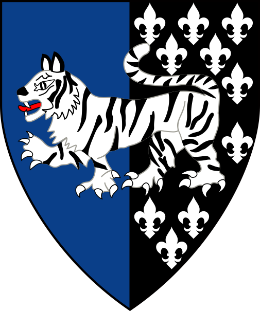 [Per pale azure and sable semy-de-lis, a natural tiger passant argent marked sable]