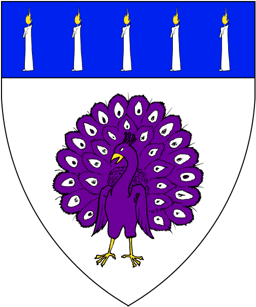 [Argent, a peacock in his pride purpure and on a chief azure five candles argent lit Or.]