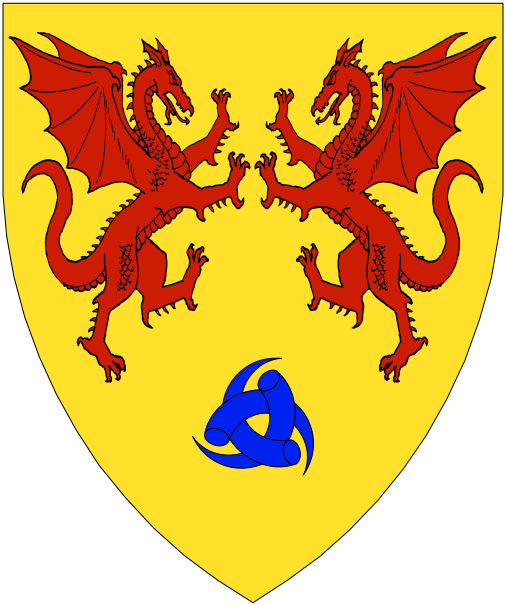 [Or, two dragons combatant gules, in base three drinking horns fretted in triangle azure.]